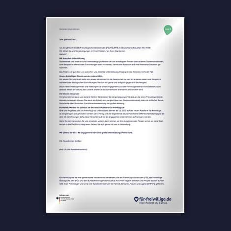 Dokument mit Textvorlage für Anschreiben an Unternehmen