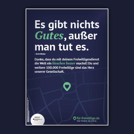Material Poster mit Zitat Es gibt nichts Gutes ausser man tut es und Danke an Freiwillige