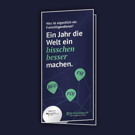 Material Flyer mit Informationen über Freiwilligendienst